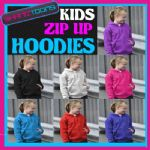 KIDS CHILDS PLAIN ZIPPED ZIP UP HOODIE HOODY DANCE SCHOOL  FOOTBALL CLUB